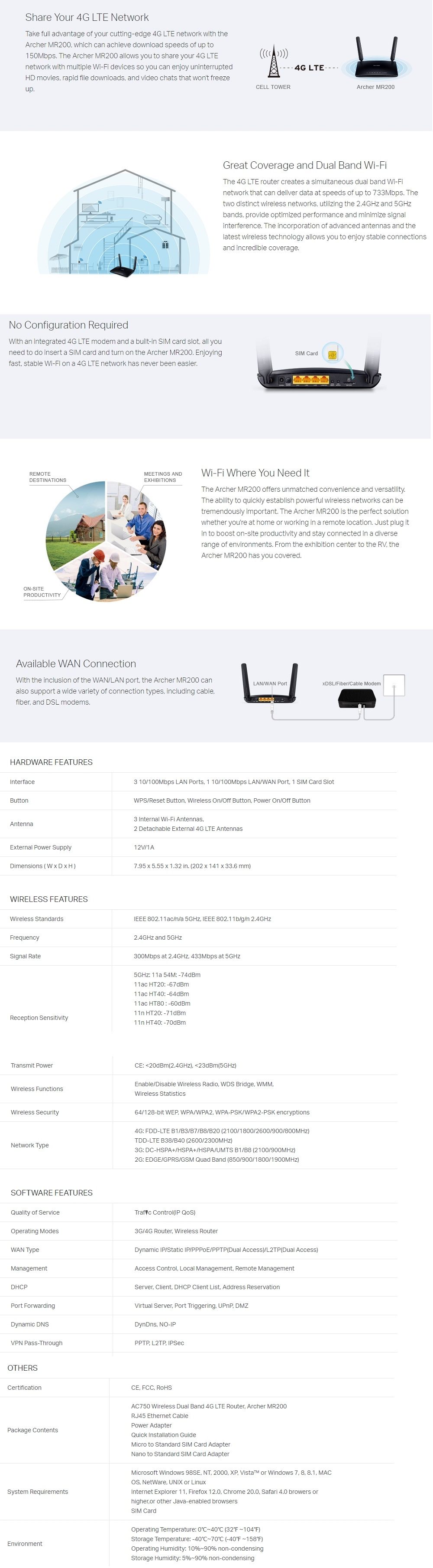 TP-Link AC750 Wireless Dual Band 4G LTE Advanced Router